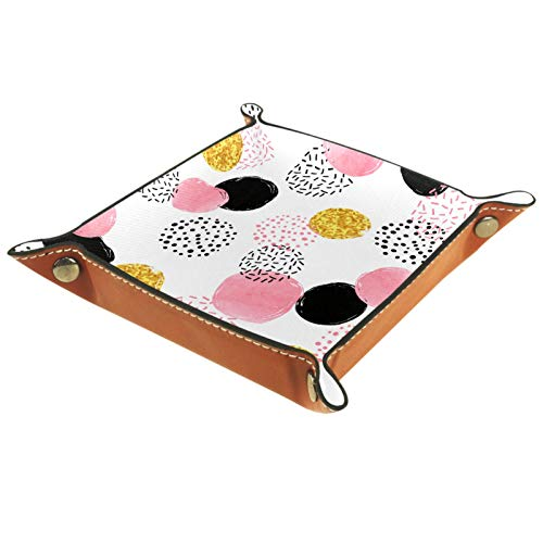 AITAI Bandeja de valet de piel vegana para mesita de noche, organizador de escritorio, plato de almacenamiento, diseño de lunares rosa negro dorado