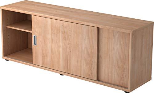 bümö® Sideboard mit Schiebetür | Büro Schiebetürenschrank | Für Aktenordner & Stauraum für Material | Büromöbel | in 12 Farben (Nussbaum)