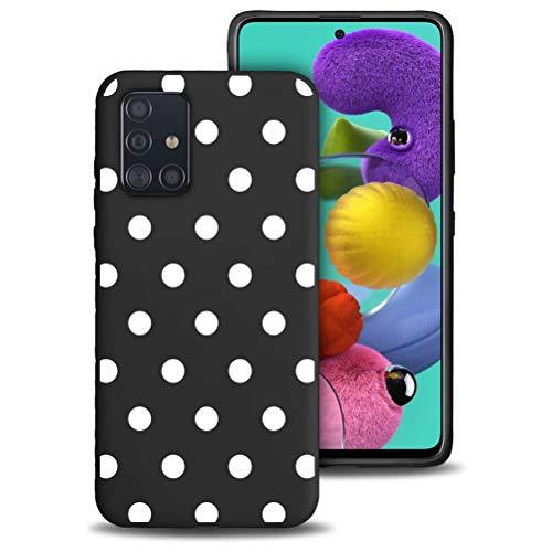 ZhuoFan Funda Samsung Galaxy A51 4G Cárcasa Silicona Ultrafina Negra con Dibujos Diseño Suave TPU Antigolpes de Protector Piel Case Cover Fundas para Movil Samsung Galaxy A51 4G, Lunares Blanc