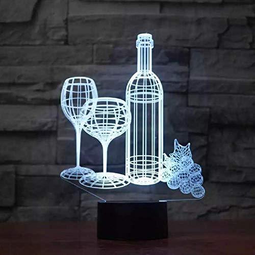 Lámpara De Mesa 3D De Modelado De Botella De Copa De Vino Led 7 Cambio De Color Acrílico Usb Luz Nocturna Para Decoración De Dormitorio De Bebé En Casa