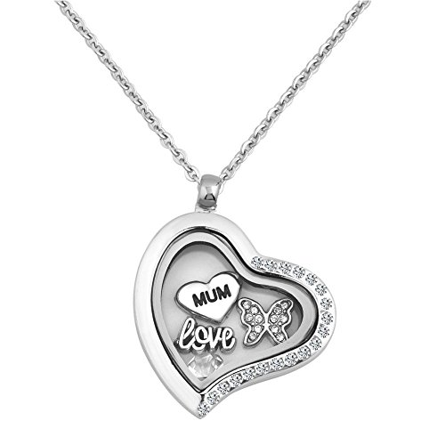 UNIQUEEN Heart Locket Necklace with 18' Chain Love Mum Butterfly Floating Charm Pendant