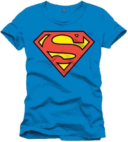 Superman Herren Logo Classique T-Shirt, Bleu (Cobalt), Groß