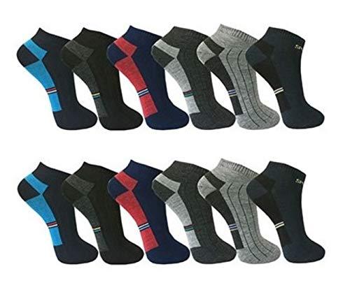 BestSale247, 12paia di calzini fantasmini da uomo, per sport e tempo libero, in cotone, misura 39-42, 43-46, Fantasia 3, 43-46
