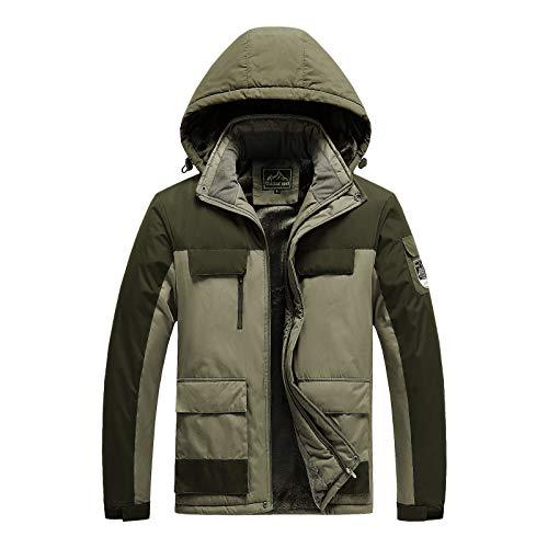 Mens Waterproof Skiing Coats Outdoor Mountain Parka Fleece Jackets with Windproof Hood for Hiking Camping Outwear
