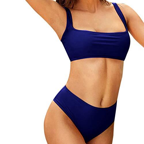 Janly Clearance Sale Traje de baño de verano para mujer, traje de baño de moda dividido sólido sexy bikini de verano trajes de baño para mujer para vacaciones (XL-azul)