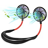 Neck Fan, Portable USB Rechargeable Mini Sports Fan, LED Fan with 3 Speeds Adjustable 360 Degree Free, Suitable for Travel Outdoor Office Home Sports