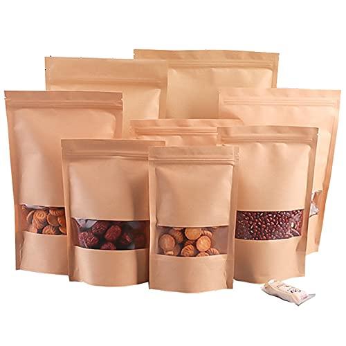 KTMAID 50 unidades de bolsas de papel marrón reutilizables, con cierre a presión, para guardar alimentos, para café, té y aperitivos (50 unidades, 16 cm x 26 cm)
