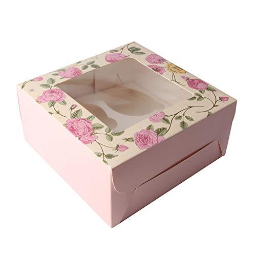 Accevo Cupcake Box, Kuchenbox pappe, 15 stück [16x16x7.5cm] Muffin-Box [Kommt mit Aufkleber] Gilt auch für süßigkeiten, schokolade, Kekse, Gebäck und Andere Kleine Geschenke