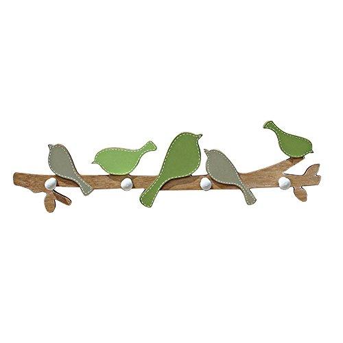 gossipboy Vogel Design Holz Kleiderhaken, Creative Wall Kleiderbügel Zum Aufhängen Dekoration mit 4Haken grün