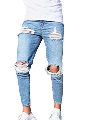 Männer Hosen, Herren Stretchy Zerrissene Dünne Biker Jeans Zerstört Taped Slim Fit Jeans (Hellblau)