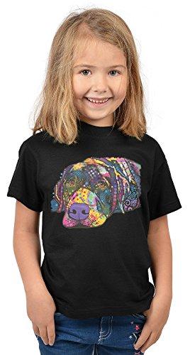 Labrador Kinder Tshirt - Hunde-Motiv Kindershirt - Hundemotiv : Savvy Labrador - Kunstmotiv buntes Hunde-Shirt Kind Gr: XL= 158-164