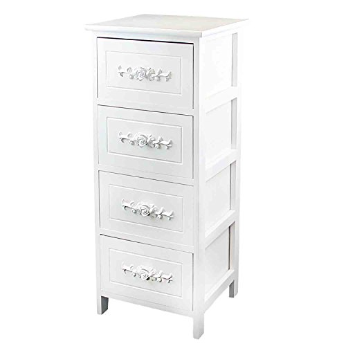 DL-Furniture Fully Assembled 100% Solid Wood Elegant Night Stand 4 Drawer Storage Shelf Organizer | Snowflake white
