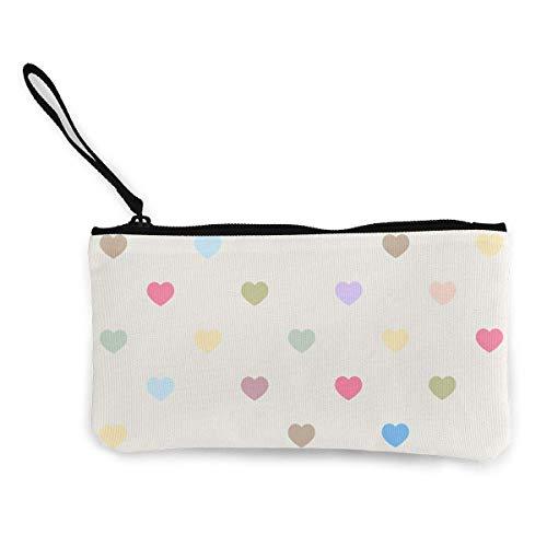 Yuanmeiju Unisex Cute Heart Wallet Münzgeldbörse Leinwand Reißverschluss Make Up Beutel Tasche für die Arbeit