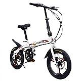 ZDXC Bicicleta Plegable de 16 Pulgadas, Ligera, Pequeña, Portátil, para Estudiantes Adultos, Bicicleta Plegable de 6 Velocidades, Bicicleta Masculina y Femenina, Bicicleta Urbana