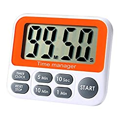 Digital Countdown Kitchen Timer - AIMILAR Count Up Down Magnetic Timer Clock with Alarm Fast Setting for Cooking Baking Students (Gray)