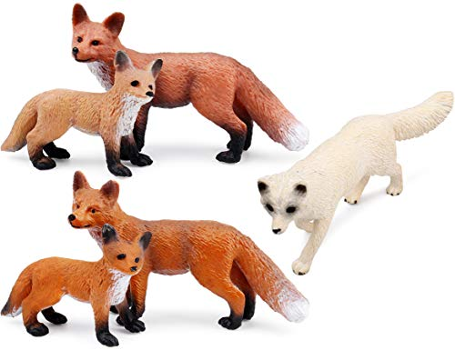 Fox Toy Figures Set Includes Arctic Fox & Red Foxes Figurines Cake Toppers (5 Foxes)