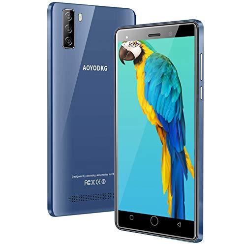 AOYODKG Smartphone 2020, 4G Android 9.0 con 16GB ROM (SD 128GB), pantalla 5.0 pulgada HD, Dual Sim, doble cámara 5MP+8MP, 2800mAh Batería, teléfono móvil 4G, GPS, WiFi, Smartphone Libre Azul