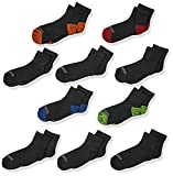 Fruit of the Loom Big Boys' 10 Pack Half Cushion Ankle Socks, Black Assort, Shoe Size: 3–9 (Large)