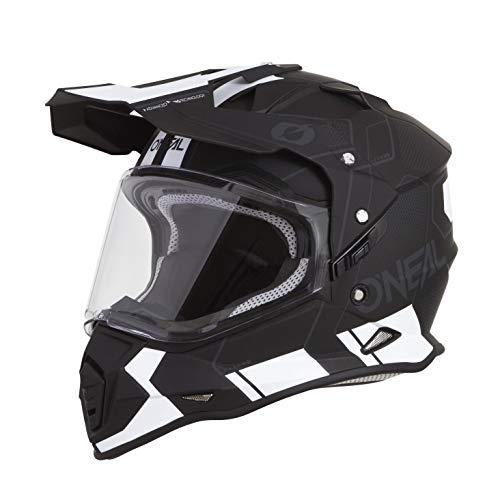 O'NEAL | Casco de Moto | Enduro | Carcasa Exterior ABS, con Visera y Parasol Integrado, Cierre de Seguridad de Doble D en la Barba | Casco Sierra Comb | Adultos | Blanco Negro | Talla L