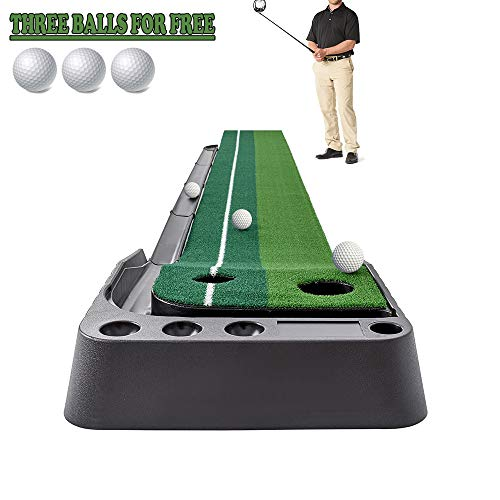 Golf Putting Mat Come with 3 Golf Balls- Portable Mat with Auto Ball Return Function– Mini Golf Practice Training Aid, Game and Gift for Home, Office, Outdoor Use
