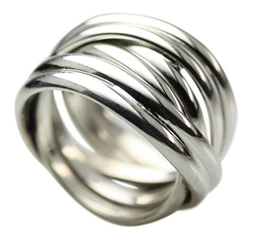 Breiter in sich verschlungener 925 Silberring, Größe:Größe 53 (17 mm)