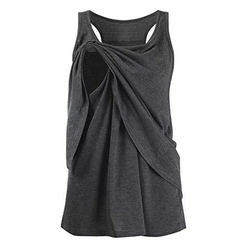 Roiper_ Femme Vetements Vêtements de maternité Tops d'allaitement Haut d'allaitement Femmes T-Shirt de Grossesse Haut Maternité Allaitement Maternel Top Lace Up Double Couche Blouse
