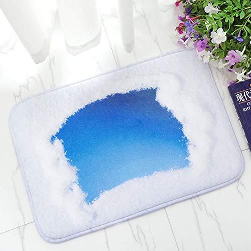 FORNCALO Tapijten Tapijten Matten Blauwe Deurmat Outdoor Tapijten Wolken Bedrukte Badmatten Flanellen Badkamer Tapijt Anti-Slip Keuken Rug Slaapkamer Vloermat