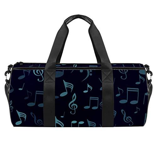 Símbolos musicales Notas musicales Agudos Clef Sports Gym Bag Bolsa de viaje cilíndrica con bolsillo mojado, bolsa de entrenamiento ligera con correa para el hombro para hombres y mujeres