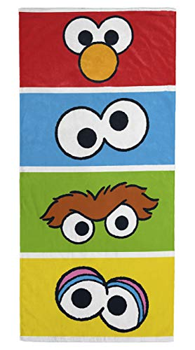Jay Franco Sesame Street Cube Kids Bath/Pool/Beach Towel - Features Elmo, Cookie Monster, Big Bird - Super Soft & Absorbent Cotton Towel, Measures 28 inch x 58 inch (Official Sesame Street Product)