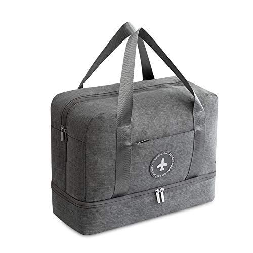 FANDARE Sporttasche Reisetasche Größe der Kabinenreisetasche Weekender mit Schuhfach 24 L Fitnesstasche Trainingstasche für Damen Herren Handgepäck für Reisen Übernachtung Strandhandtasche Grau