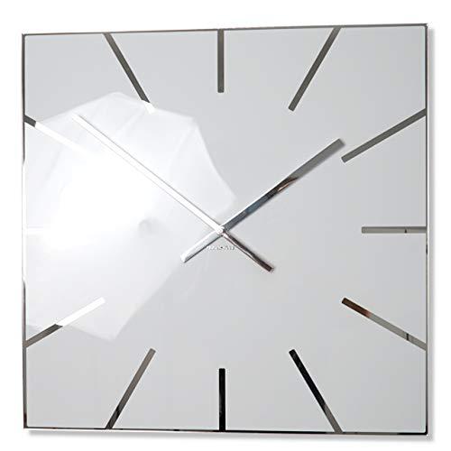 FLEXISTYLE Moderne große Wanduhr Exact 50cm, Acrylglas und Acrylspiegel, Stille, Wohnzimmer, Schlafzimmer (Weiß)