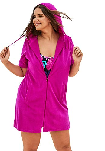 Swimsuits For All Women's Plus Size Hooded Terry Swim Cover Up Swimsuit Cover Up - 18/20, Bright Fuchsia