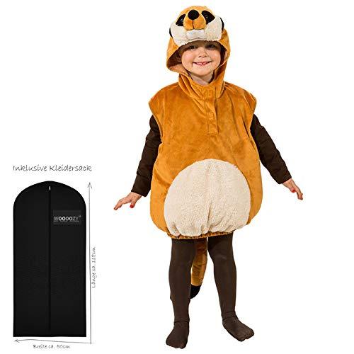 WOOOOZY Kinder-Kostüm Erdmännchen mit Kapuze, Einh.gr. - inklusive praktischem Kleidersack