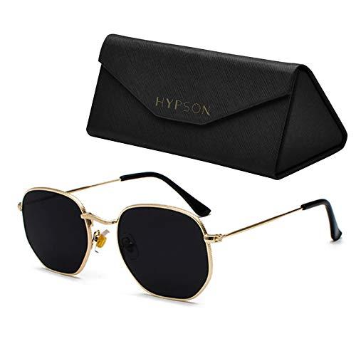 Hypson Lentes de Sol para Mujer y Hombre con Estuche portable y Paño de limpieza. Gafas de sol. Lentes Polarizados con recubrimiento antirreflejante. Sunglasses (Malvek - Gold Gray)