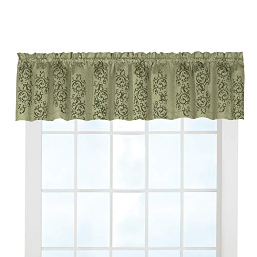 Collections Etc Thermal-Backed Scroll Insulated Window Valance Blocks Light, Reduces Outside Noise and Provides Insulation from Heat and Cold, Sage