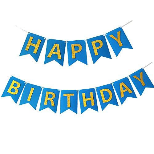 Pancarta Feliz Cumpleaños Happy Birthday Banner Bandera Guirnalda Banderín Garland Feliz Cumpleaños Fieltro Azul Con Letra Dorada Brillante Decoracíon Fiesta de Cumpleaños Chicos Señores Hombres