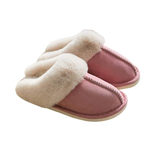 Cómoda zapatilla casa gamuza piel sintética para mujer, suela antideslizante espuma viscoelástica antideslizante, resistente agua, cálida, mullida, invierno, felpa, interior, exterior,Rosado,7