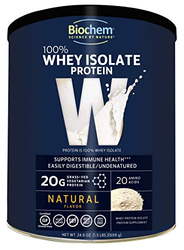 Biochem 100% Whey Isolate Protein - Natural Flavor - 12.3 oz - Pre & Post Workout - Meal Replacement - Keto-Friendly - 20g of Protein - Easily Digestible - Refreshing Taste - Easy to Mix