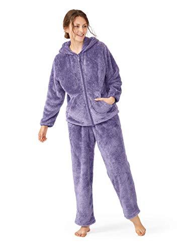 Femofit Hooded Pajamas Set for Women Long Sleeve Women Pajama Sleepwear with Zipper Soft Pjs Shu Velveteen Loungewear (Purple Gray,L)