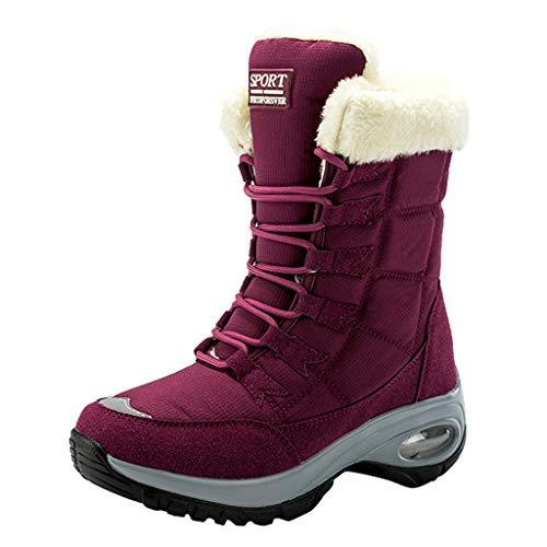 Stivali Donna con Tacco Largo Eleganti Invernali Scarpone da Neve Casual con Lacci e Scarpe Antiscivolo Impermeabili (37 EU,Rosso)