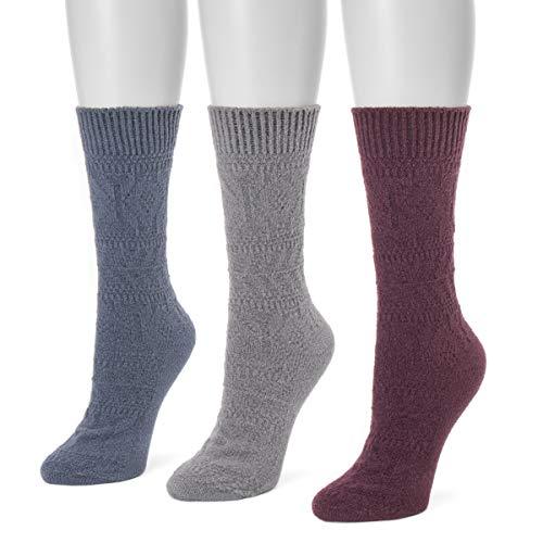 MUK LUKS Women's 3 Pair Pack Boot Socks - Blue