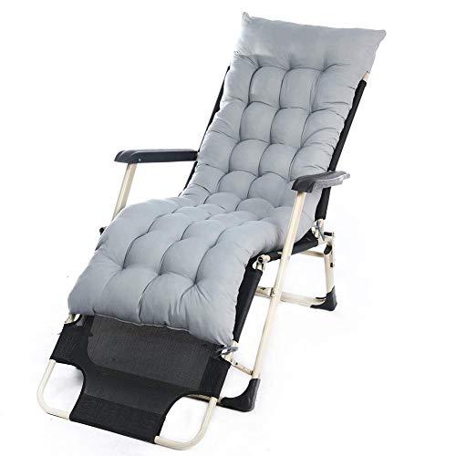 JINGF Outdoor Sun Lounger Cush Stuhlkissen mit hoher Rückenlehne und rutschfestem Bezug, 10 cm dick gepolstertes Gartenbett Matratze Recliner Sitzpolster mit Rückenlehne, grau, 1 Packung