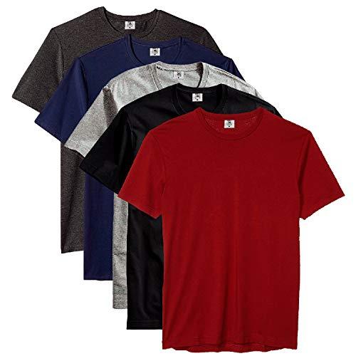 Kit com 5 Camiseta Masculina Básica Algodão Premium (Flamenco, G)