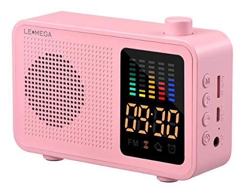 Altavoz Bluetooth portátil de Estilo Retro, con Bluetooth 4.1, inalámbrico, con Radio FM, Alarma, Entrada Auxiliar, Tarjeta TF CR1 Rosa