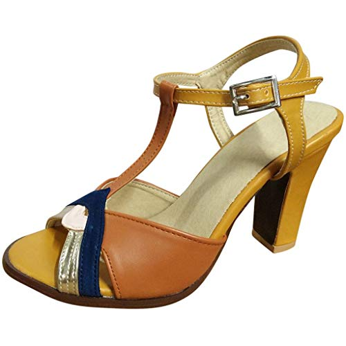 FRENDLY Rome Women Summer Stiletto High Heels Shoes Elegan Ankle Buckle Open Toe Sandals Casual Strappy Shoes Yellow