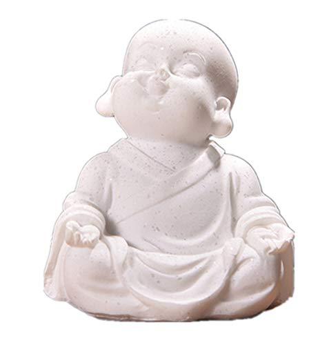 YITOG Little Monk Statue Sandstone Thailand Maitreya Buddha Statuettes Lovely Figurine Home Decor Study Ornament Gift (B)
