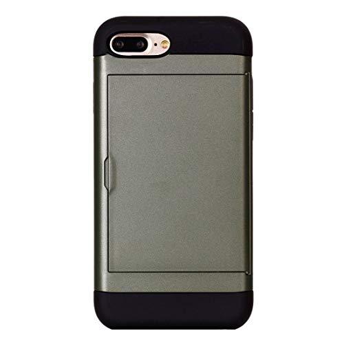 Banaz HNZZ - Funda para iPhone 8 Plus y 7 Plus (poliuretano termoplástico) + combinación de PC con ranura para tarjeta (color: verde militar)