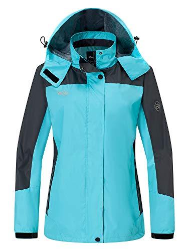 Wantdo Women's Windproof Travel Running Raincoat with Hood Jacket Blue US S