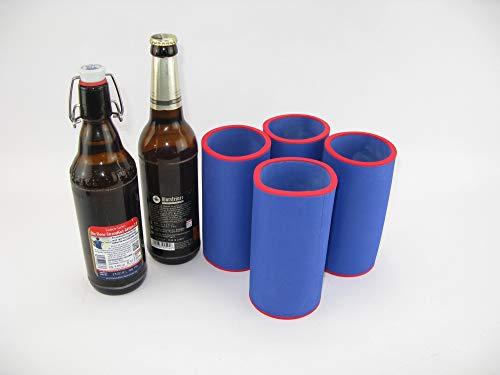 asiahouse24 4er Set blau Getränkekühler 0,5l Flasche - Bierkühler - Neoprenkühler - passgenau ~Flaschenkühler~ für alle genormten 0,5l Bierflaschen aus hochwertigen 5-6mm starken Neopren