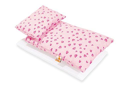 Pinolino Puppenbettzeug Herzchen, 3-tlg., mit Matratze, Bettdecke und Kopfkissen, waschbar, Bezug 100 % Baumwolle, für Mädchen ab 1 J., rosa